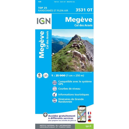 IGN Megeve - Col des Aravis 3531 OT Map | Backcountry Books