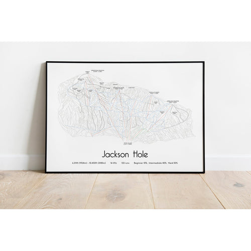Jackson Hole Piste Map Wall Print Poster | Backcountry Books | Bluebell and Moss