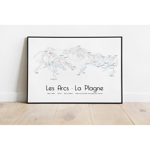 Les Arcs La Plagne Paradiski Piste Map Wall Print | Backcountry Books