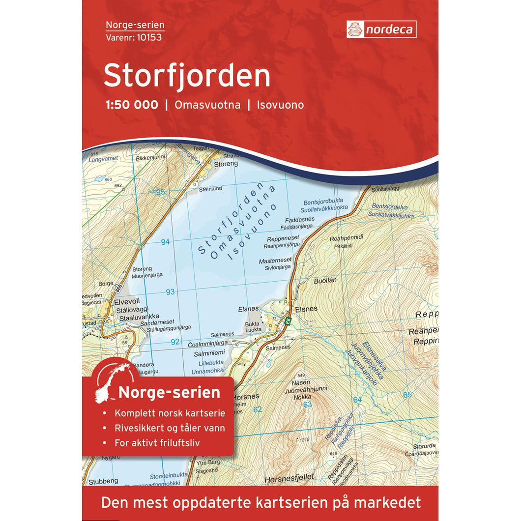 Lyngen Map Nordeca Storfjorden 1:50,00. Backcountry Books.