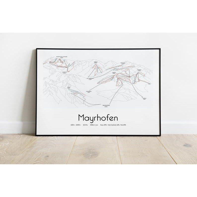 Mayrhofen Piste Map Wall Print | Backcountry Books