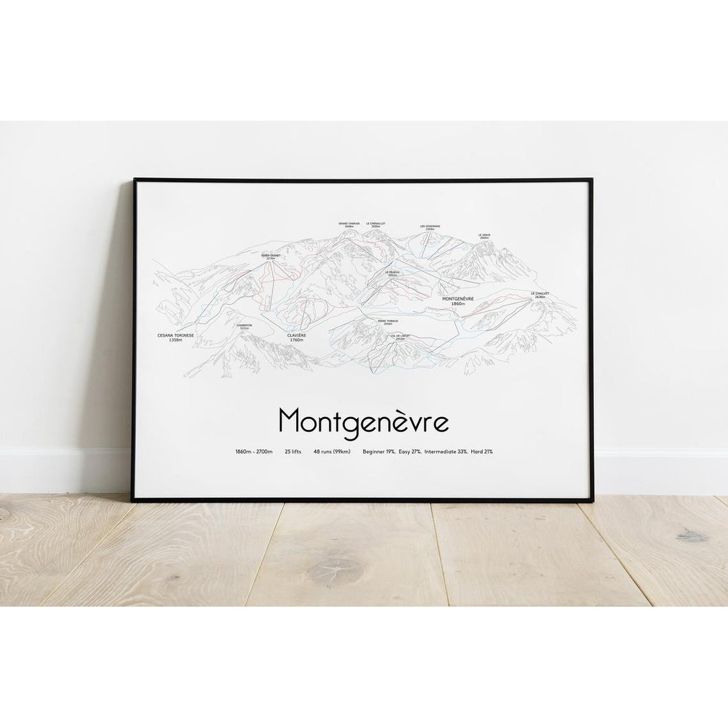 Montgenevre Ski Piste Map Wall Print Poster | Backcountry Books