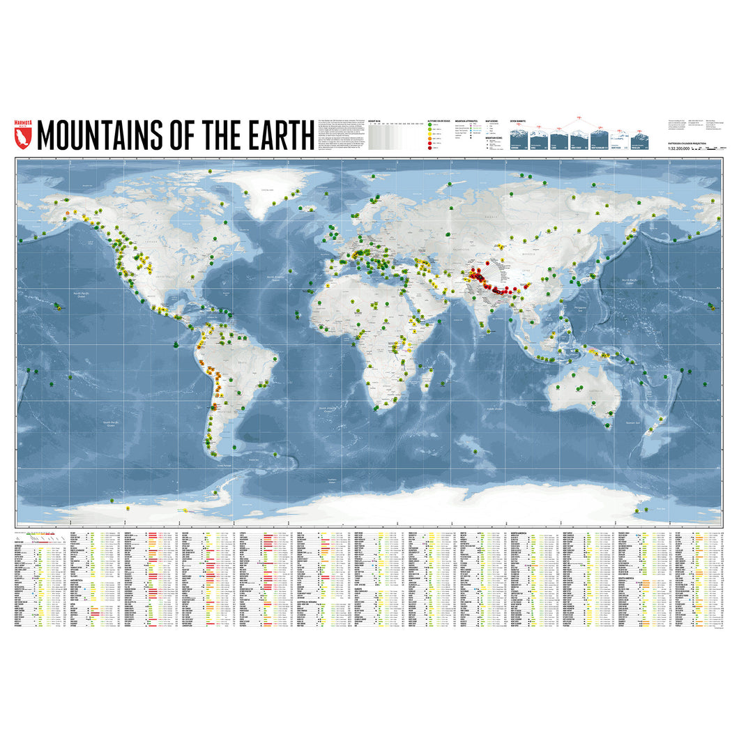 Mountains of the Earth World Wall Map | Marmota Maps | Backcountry Books