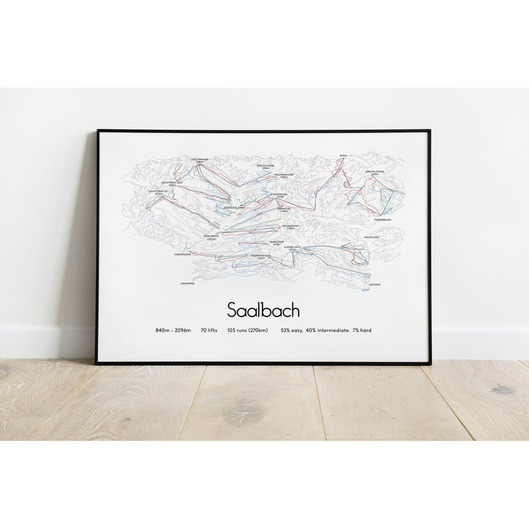 Saalbach Piste Map Wall Print Poster | Backcountry Books