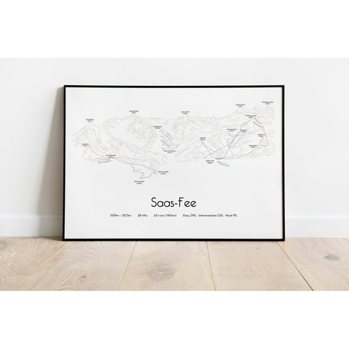 Saas Fee Piste Map Wall Print | Backcountry Books