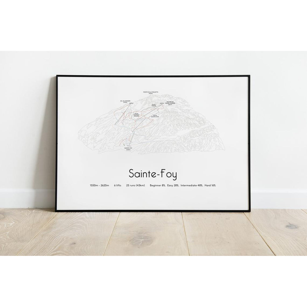 Sainte-Foy Ski Piste Map Wall Print Poster | Backcountry Books