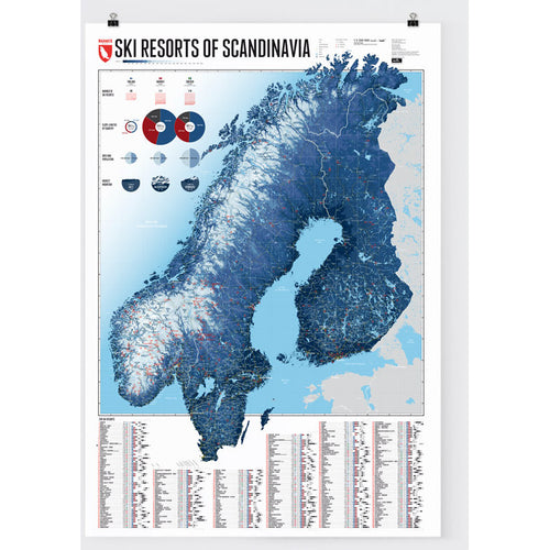 Ski Resorts of the Scandinavia Wall Map | Marmota Maps