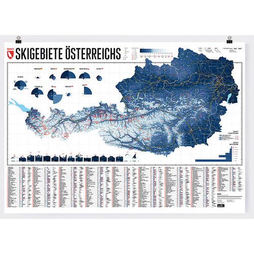 Ski Resorts of Austria Wall Map | Backcountry Books | Marmota Maps