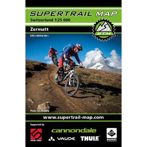 Supertrail Map Zermatt | Mountain Bike Map Zermatt | Backcountry Books