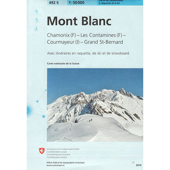 Swiss Topo Mont Blanc 492S Ski Map | Backcountry Books