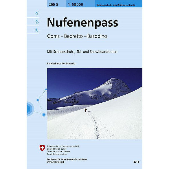 Swisstopo Nufenenpass 265S Ski Touring Map