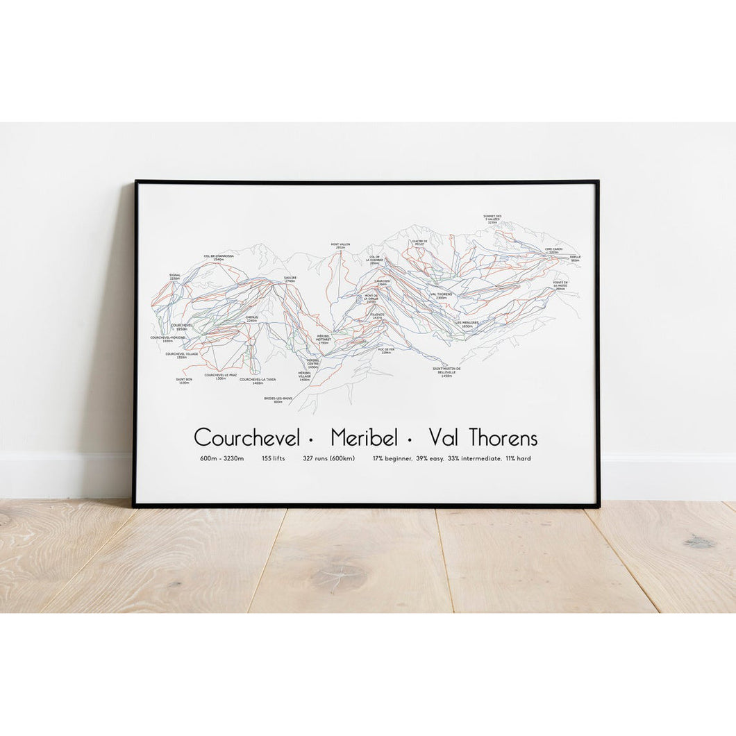 Three Valleys Piste Map Wall Print | Backcountry Books