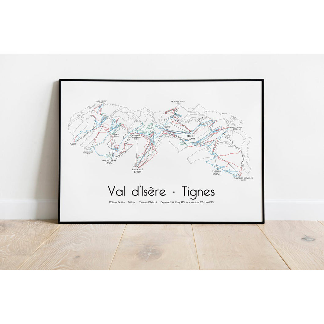 Val d'Isere Tignes Ski Piste Map Wall Print | Backcountry Books