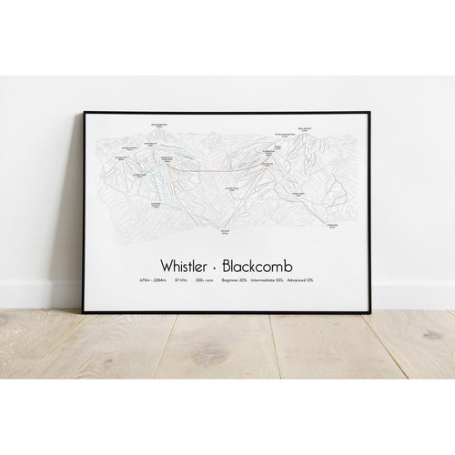 Whistler Blackcomb Piste Map Wall Print | Backcountry Books