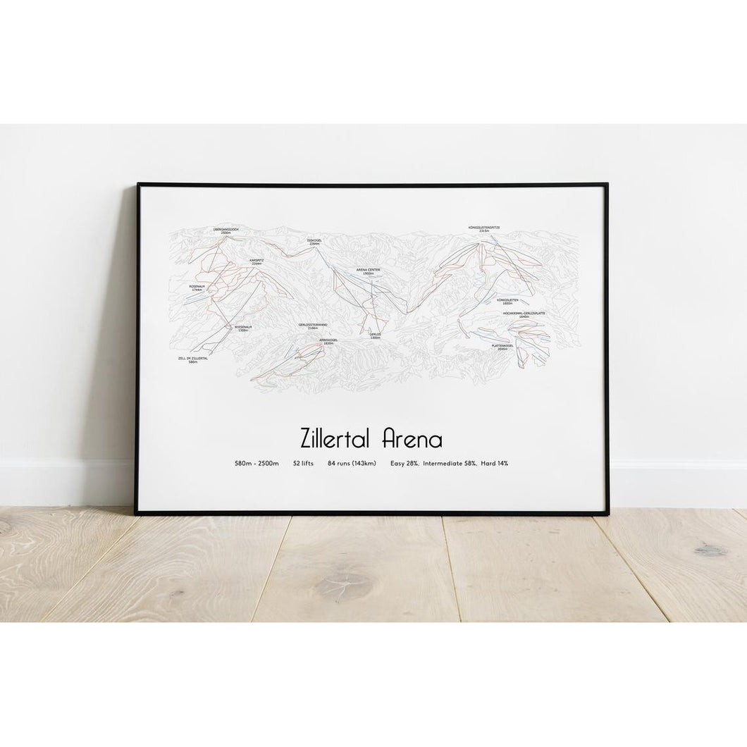 Zillertal Arena Ski Piste Map Wall Print | Backcountry Books