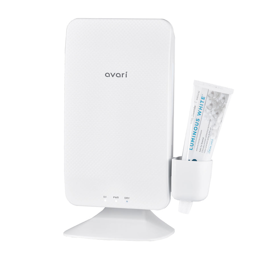 Avari Ts UV Heat Toothbrush Sanitizer White- Front with Paste Holder