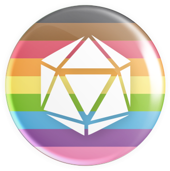 LGBTQ2S+ Flag - D20 Button