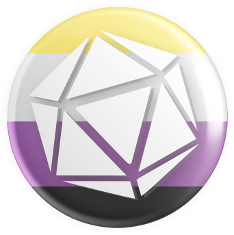 Nonbinary Flag - D20 Button