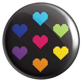 Rainbow Hearts Button