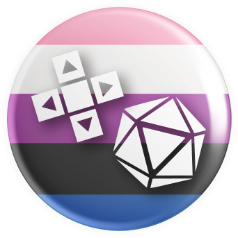 Genderfluid Flag Gaymer Button