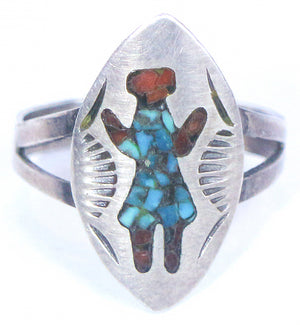 vintage turquoise coral surface inlaid ring