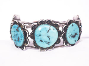 vintage turquoise stone sterling silver cuff bracelet