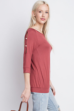 3/4 Button Sleeve Top