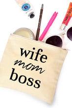 Wife Mom Boss Makeup Bag
