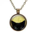 Vintage Black Cat Picture Necklace