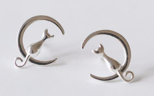 Fashion Silver or Gold Cat-on-Moon Earrings