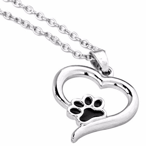 Cat Paw Print and Heart Necklace