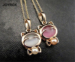 Fashion Kitty Cat Opal & Bead Pendant Necklace