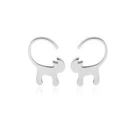 Long Tail Cat Stud Earrings