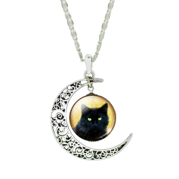 Silver Plated Color Chain Choker Necklace with Crescent Moon Cat Pendant