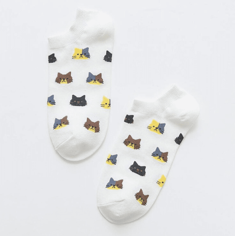 Cat Pattern Socks (short), Clothing - catsbeststore