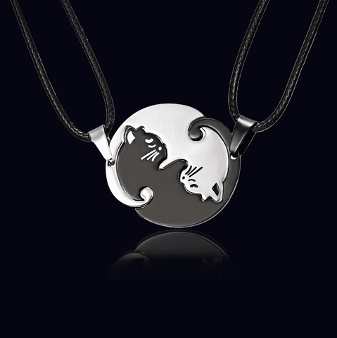 Yin and Yang Cat Necklace, Jewelry - catsbeststore