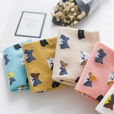 Image of Cat Pattern Socks (short), Clothing - catsbeststore