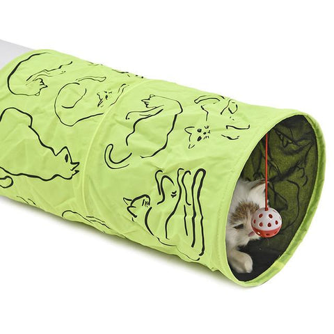 Image of Pet Cat Tunnel (Green - with bell ball), Accessories - catsbeststore