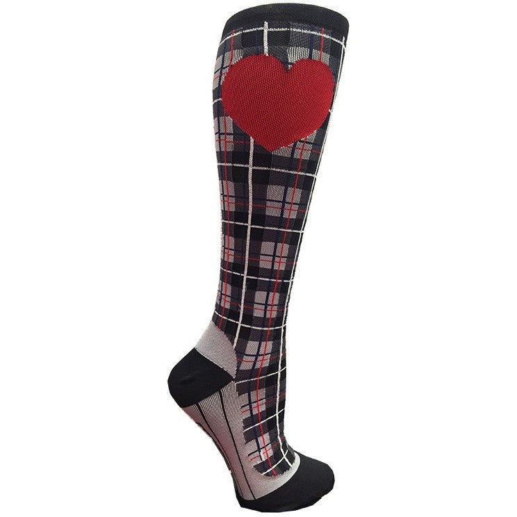 Black Plaid Compression Socks