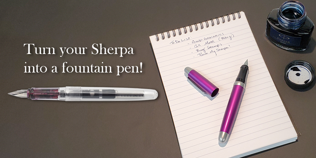 Sherpa fountain pen with ink cartridge and ink converter