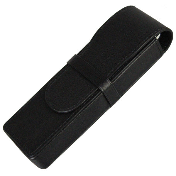 Sherpa Genuine Nappa Leather Black Flapover Double Pen Case