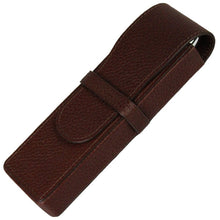 Sherpa Genuine Pebble Leather Mahogany Flapover Double Pen Case