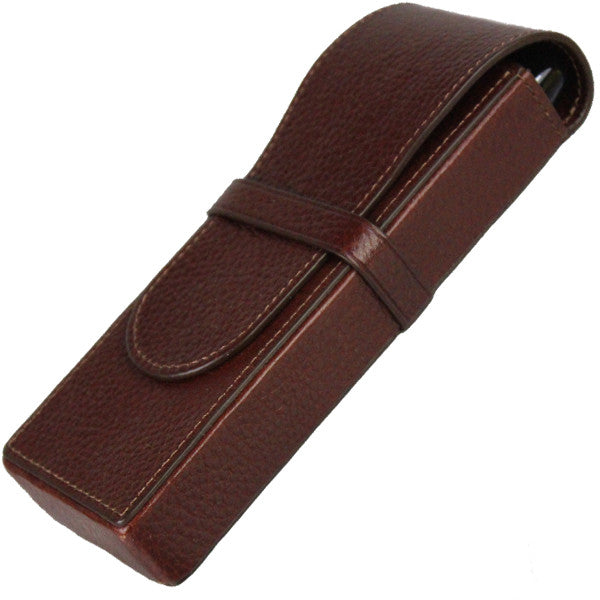 Sherpa Genuine Pebble Leather Mahogany Flapover Triple Pen Case