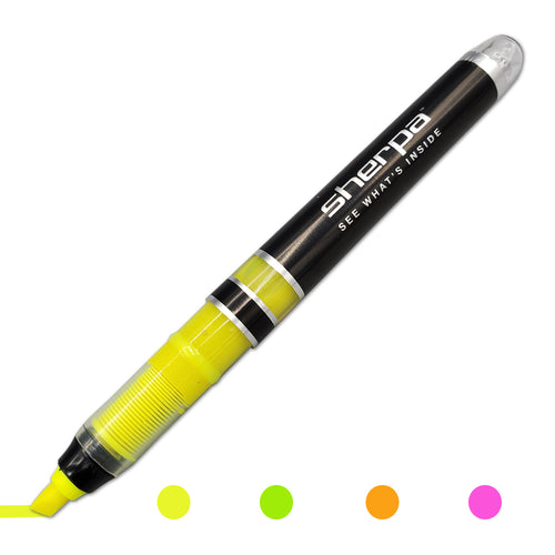 Sherpa Pen Premium Highlighter Insert in Yellow, Pink Green and Orange.