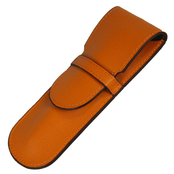 Sherpa Genuine Saffiano Leather Orange Crush Flapover Single Pen Case