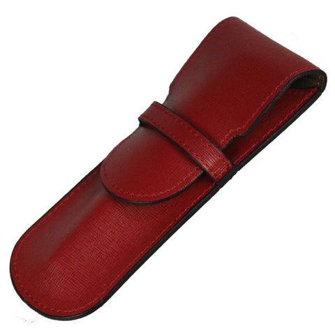 Sherpa Genuine Saffiano Leather Ruby Red Flapover Single Pen Case