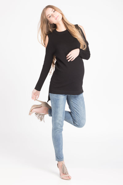 Cold Shoulder Sweater - Black