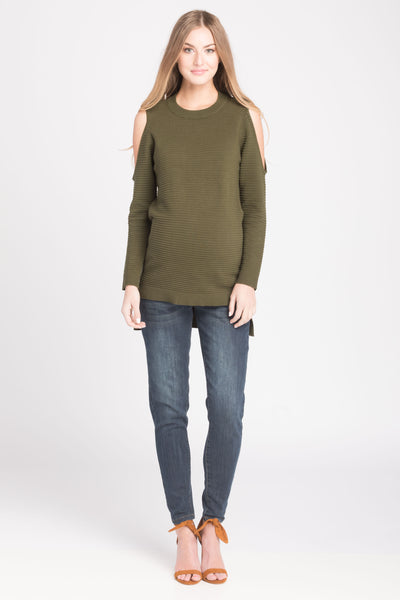 Cold Shoulder Sweater - Olive