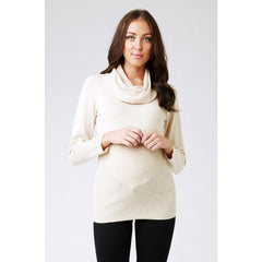 Cowl Neck Fitted Knit - Ecru