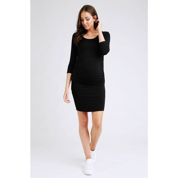 Nursing Tube Dress 3/4 Sleeves - Black
